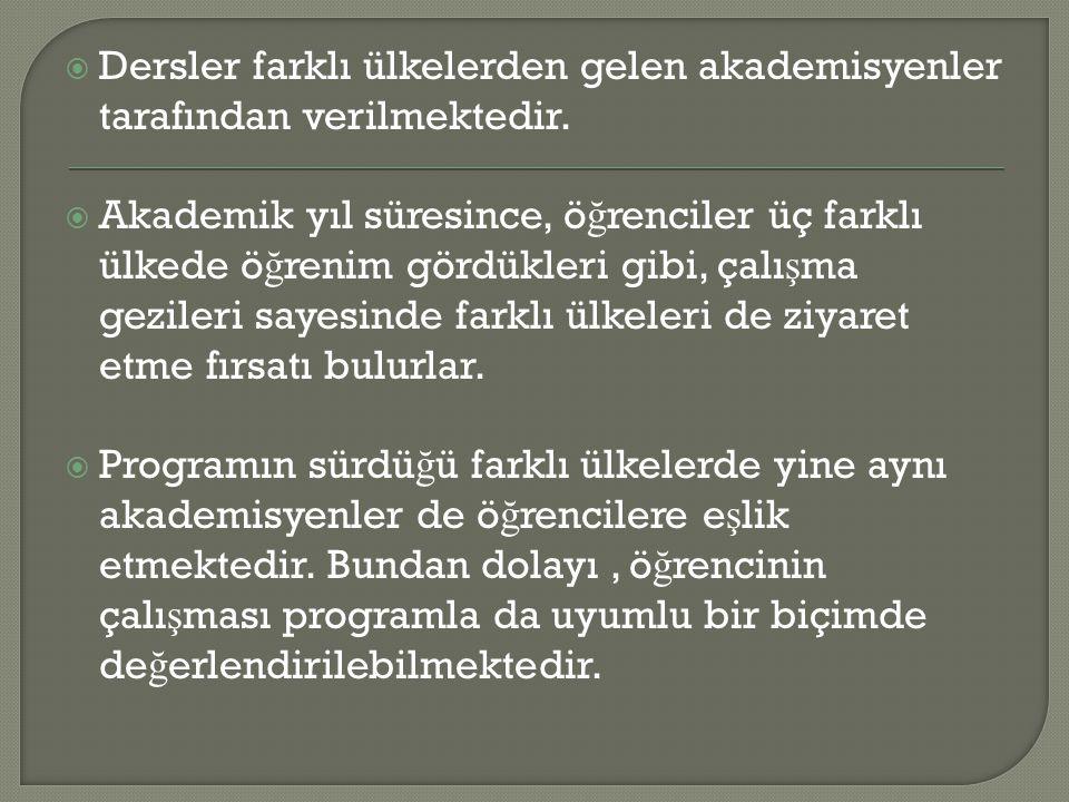  Avrupa Birli ğ i ve Uluslararası Çalı ş malar Yüksek Lisans Programı disiplinler arası bir programdır.