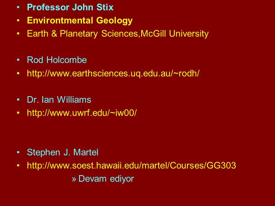 Professor John Stix Environtmental Geology Earth & Planetary Sciences,McGill University Rod Holcombe http://www.earthsciences.uq.edu.au/~rodh/ Dr. Ian