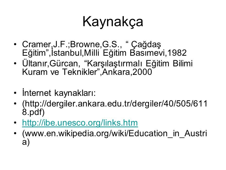 """Kaynakça Cramer,J.F.;Browne,G.S., """" Çağdaş Eğitim"""",İstanbul,Milli Eğitim Basımevi,1982 Ültanır,Gürcan, """"Karşılaştırmalı Eğitim Bilimi Kuram ve Teknikl"""