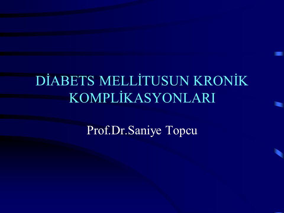 Diyabetik glomeruloskleroz ( nefrotik sendrom ve SDBY) Aşırı proteinüri ve Nefrotik sendrom GFR da hızlı azalma (2-3 yıl içinde terminal dönem böbrek yetmezliği) Hipertansiyon (kontrolü güç ve çok faktörlü) Belirgin ekstrarenal D.Mellitus organ komplikasyonları (özellikle kardiyovasküler) Ateromatöz RAS insidansında artma Nörojenik mesane insidansında artma