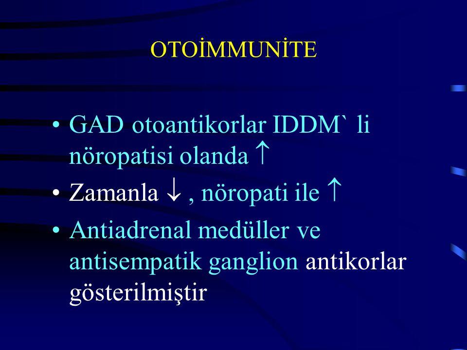 OTOİMMUNİTE GAD otoantikorlar IDDM` li nöropatisi olanda  Zamanla , nöropati ile  Antiadrenal medüller ve antisempatik ganglion antikorlar gösteril