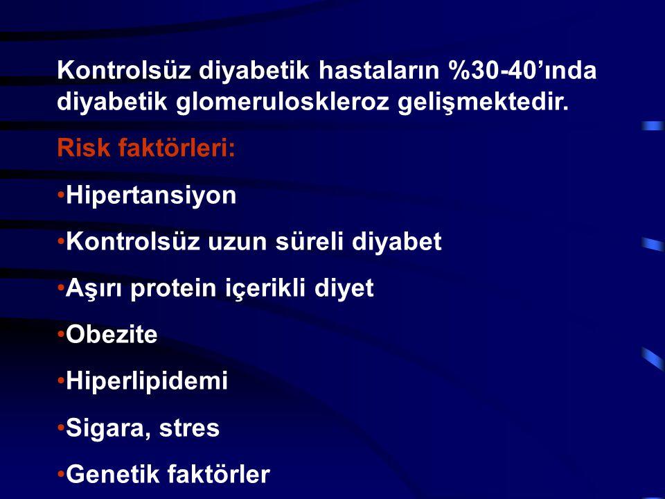 Kontrolsüz diyabetik hastaların %30-40'ında diyabetik glomeruloskleroz gelişmektedir. Risk faktörleri: Hipertansiyon Kontrolsüz uzun süreli diyabet Aş