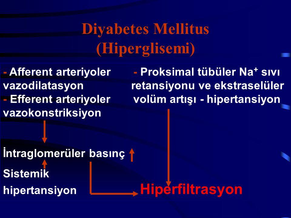 Diyabetes Mellitus (Hiperglisemi) - Afferent arteriyoler - Proksimal tübüler Na + sıvı vazodilatasyon retansiyonu ve ekstraselüler - Efferent arteriyo