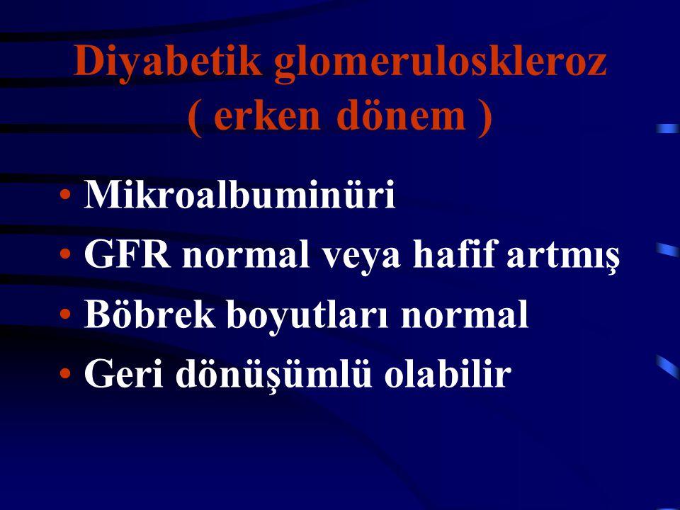 Diyabetik glomeruloskleroz ( erken dönem ) Mikroalbuminüri GFR normal veya hafif artmış Böbrek boyutları normal Geri dönüşümlü olabilir