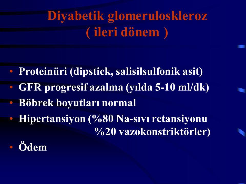 Diyabetik glomeruloskleroz ( ileri dönem ) Proteinüri (dipstick, salisilsulfonik asit) GFR progresif azalma (yılda 5-10 ml/dk) Böbrek boyutları normal