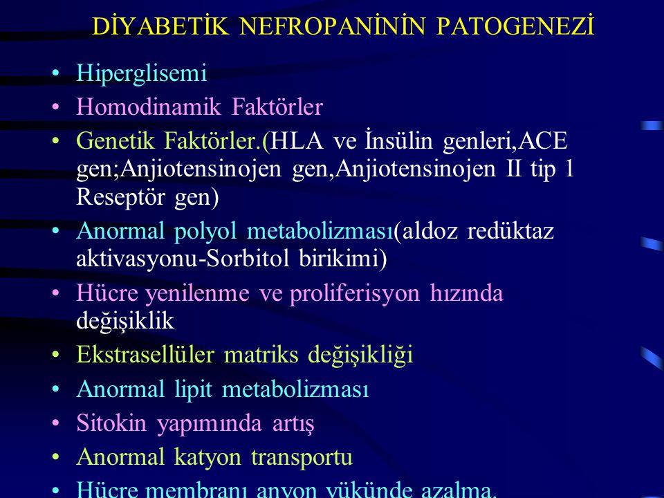 DİYABETİK NEFROPANİNİN PATOGENEZİ Hiperglisemi Homodinamik Faktörler Genetik Faktörler.(HLA ve İnsülin genleri,ACE gen;Anjiotensinojen gen,Anjiotensin