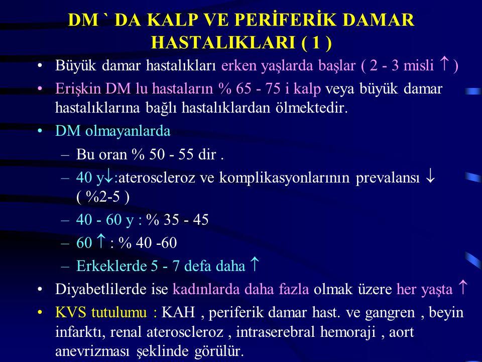 DM ` DA KALP VE PERİFERİK DAMAR HASTALIKLARI ( 1 ) Büyük damar hastalıkları erken yaşlarda başlar ( 2 - 3 misli  ) Erişkin DM lu hastaların % 65 - 75