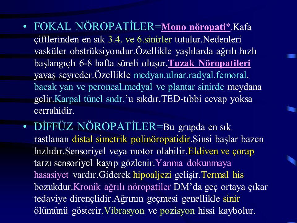 FOKAL NÖROPATİLER= Mono nöropati*.Kafa çiftlerinden en sık 3.4. ve 6.sinirler tutulur.Nedenleri vasküler obstrüksiyondur.Özellikle yaşlılarda ağrılı h