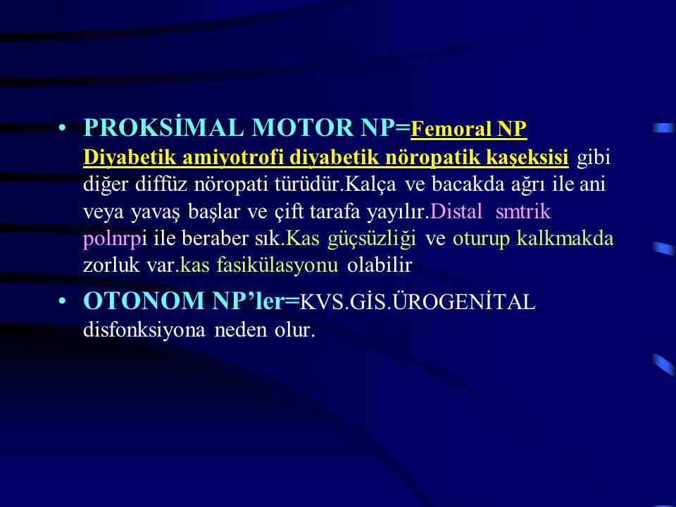 PROKSİMAL MOTOR NP= Femoral NP Diyabetik amiyotrofi diyabetik nöropatik kaşeksisi gibi diğer diffüz nöropati türüdür.Kalça ve bacakda ağrı ile ani vey