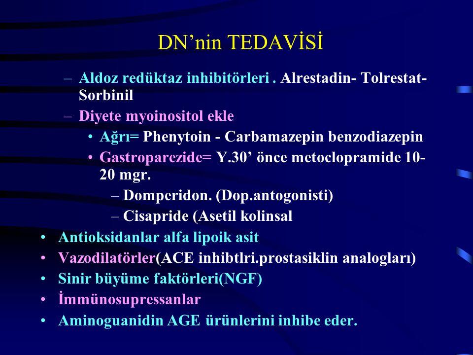 DN'nin TEDAVİSİ –Aldoz redüktaz inhibitörleri. Alrestadin- Tolrestat- Sorbinil –Diyete myoinositol ekle Ağrı= Phenytoin - Carbamazepin benzodiazepin G