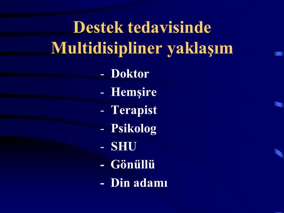 Destek tedavisinde Multidisipliner yaklaşım -Doktor -Hemşire -Terapist -Psikolog -SHU - Gönüllü - Din adamı