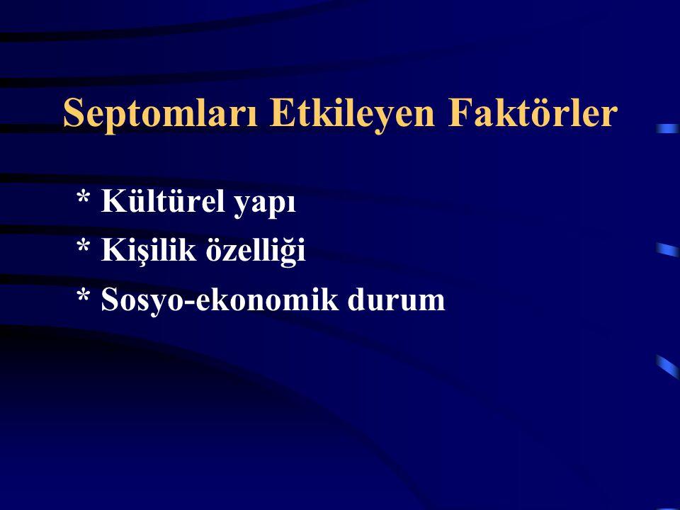 Septomları Etkileyen Faktörler * Kültürel yapı * Kişilik özelliği * Sosyo-ekonomik durum