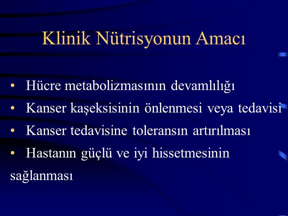 Klinik Nütrisyonun Amacı * Hücre metabolizmasının devamlılığı * Kanser kaşeksisinin önlenmesi veya tedavisi * Kanser tedavisine toleransın artırılması