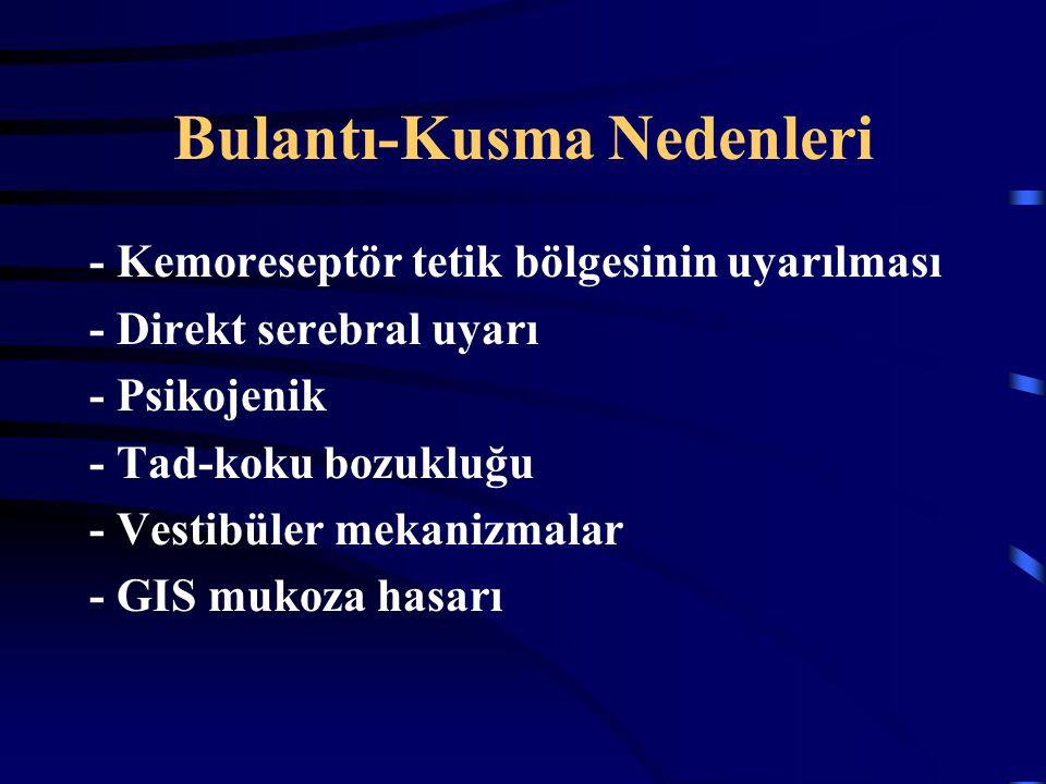 Bulantı-Kusma Nedenleri - Kemoreseptör tetik bölgesinin uyarılması - Direkt serebral uyarı - Psikojenik - Tad-koku bozukluğu - Vestibüler mekanizmalar
