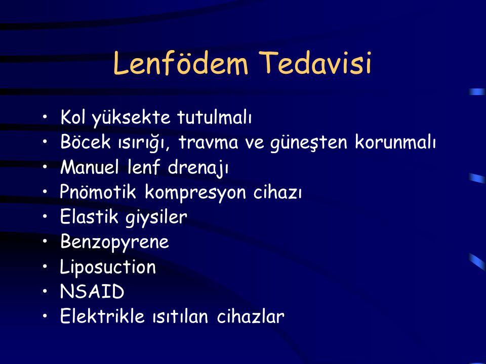 Lenfödem Tedavisi Kol yüksekte tutulmalı Böcek ısırığı, travma ve güneşten korunmalı Manuel lenf drenajı Pnömotik kompresyon cihazı Elastik giysiler B