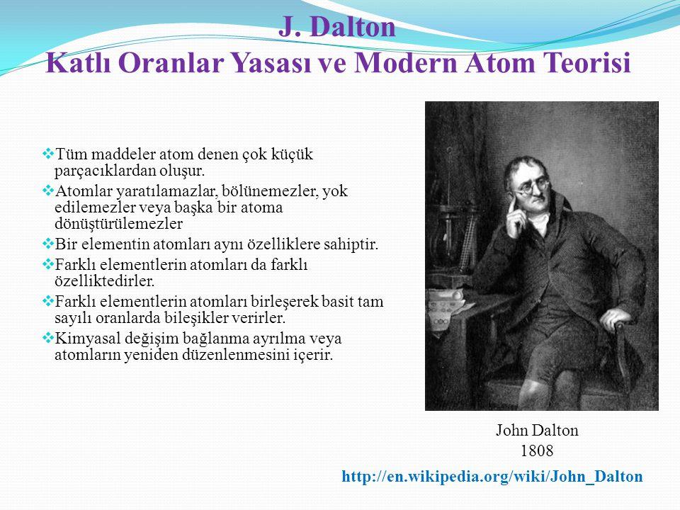 J. Dalton Katlı Oranlar Yasası ve Modern Atom Teorisi  Tüm maddeler atom denen çok küçük parçacıklardan oluşur.  Atomlar yaratılamazlar, bölünemezle