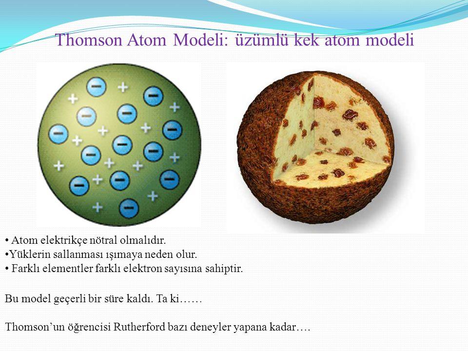 Thomson Atom Modeli: üzümlü kek atom modeli Atom elektrikçe nötral olmalıdır. Yüklerin sallanması ışımaya neden olur. Farklı elementler farklı elektro