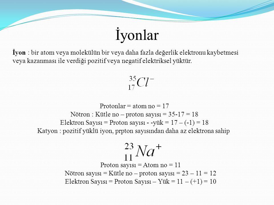 İyonlar İyon : bir atom veya molekülün bir veya daha fazla değerlik elektronu kaybetmesi veya kazanması ile verdiği pozitif veya negatif elektriksel y
