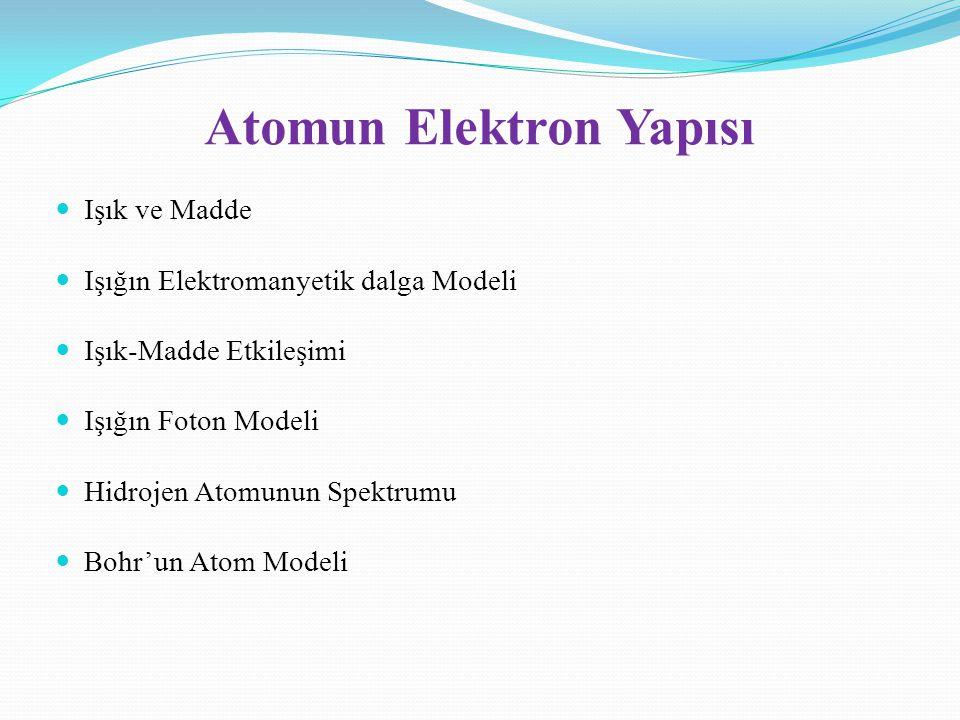 Atomun Elektron Yapısı Işık ve Madde Işığın Elektromanyetik dalga Modeli Işık-Madde Etkileşimi Işığın Foton Modeli Hidrojen Atomunun Spektrumu Bohr'un