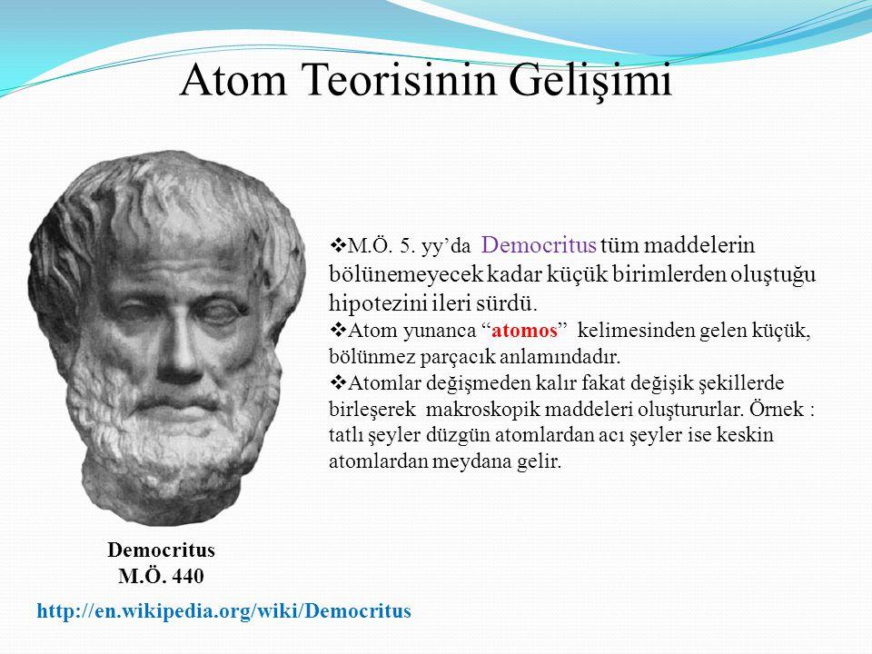 Atom Teorisinin Gelişimi Democritus M.Ö. 440  M.Ö. 5. yy'da Democritus tüm maddelerin bölünemeyecek kadar küçük birimlerden oluştuğu hipotezini ileri