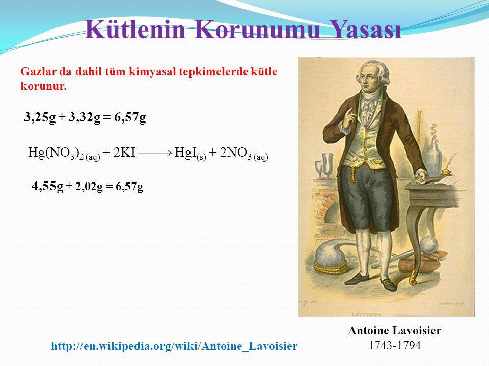 Kütlenin Korunumu Yasası Hg(NO 3 ) 2 (aq) + 2KIHgI (s) + 2NO 3 (aq) 3,25g + 3,32g = 6,57g 4,55g + 2,02g = 6,57g Antoine Lavoisier 1743-1794 Gazlar da
