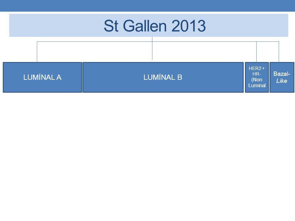 St Gallen 2013 LUMİNAL ALUMİNAL B Luminal A-Like -ER ve PR pozitif -Her2 negatif -Ki 67 düşük* - Çoklu-Gen-Ekspresyon Assay'de Düşük Nüks Riski (yapılmış ise) (Yukarıdakilerin Hepsi olmalı)