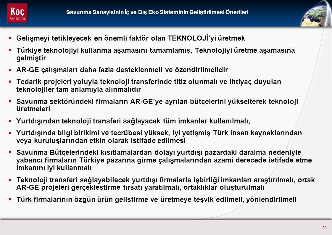 30  Gelişmeyi tetikleyecek en önemli faktör olan TEKNOLOJİ'yi üretmek  Türkiye teknolojiyi kullanma aşamasını tamamlamış, Teknolojiyi üretme aşamasına gelmiştir  AR-GE çalışmaları daha fazla desteklenmeli ve özendirilmelidir  Tedarik projeleri yoluyla teknoloji transferinde titiz olunmalı ve ihtiyaç duyulan teknolojiler tam anlamıyla alınmalıdır  Savunma sektöründeki firmaların AR-GE'ye ayrılan bütçelerini yükselterek teknoloji üretmeleri  Yurtdışından teknoloji transferi sağlayacak tüm imkanlar kullanılmalı,  Yurtdışında bilgi birikimi ve tecrübesi yüksek, iyi yetişmiş Türk insan kaynaklarından veya kuruluşlarından etkin olarak istifade edilmesi  Savunma Bütçelerindeki kısıtlamalardan dolayı yurtdışı pazardaki daralma nedeniyle yabancı firmaların Türkiye pazarına girme çalışmalarından azami derecede istifade etme imkanını iyi kullanmalı  Teknoloji transferi sağlayabilecek yurtdışı firmalarla işbirliği imkanları araştırılmalı, ortak AR-GE projeleri gerçekleştirme fırsatı yaratılmalı, ortaklıklar oluşturulmalı  Türk firmalarının özgün ürün geliştirme ve üretmeye teşvik edilmeli, yönlendirilmeli Savunma Sanayisinin İç ve Dış Eko Sisteminin Geliştirilmesi Önerileri
