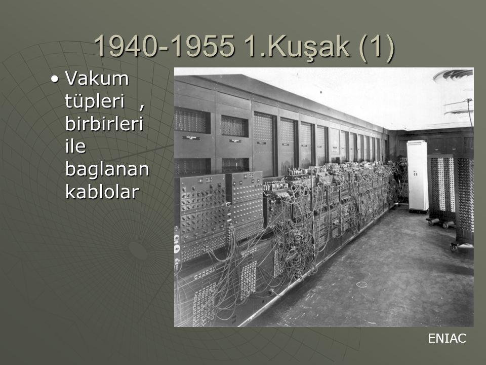 1940-1955 1.Kuşak (1) Vakum tüpleri, birbirleri ile baglanan kablolarVakum tüpleri, birbirleri ile baglanan kablolar ENIAC