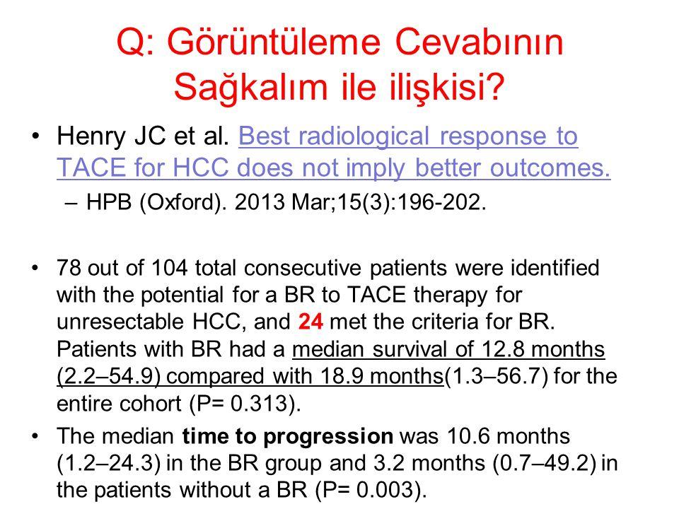 Q: Görüntüleme Cevabının Sağkalım ile ilişkisi? Henry JC et al. Best radiological response to TACE for HCC does not imply better outcomes. –HPB (Oxfor
