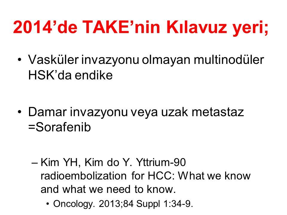 2014'de TAKE'nin Kılavuz yeri; Vasküler invazyonu olmayan multinodüler HSK'da endike Damar invazyonu veya uzak metastaz =Sorafenib –Kim YH, Kim do Y.