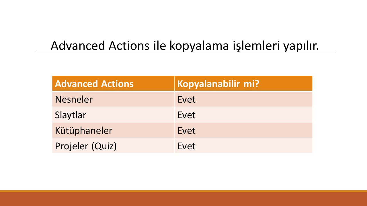 -Project> Advanced Actions penceresi açılır.-Action Type seçilir ve action name belirlenir.