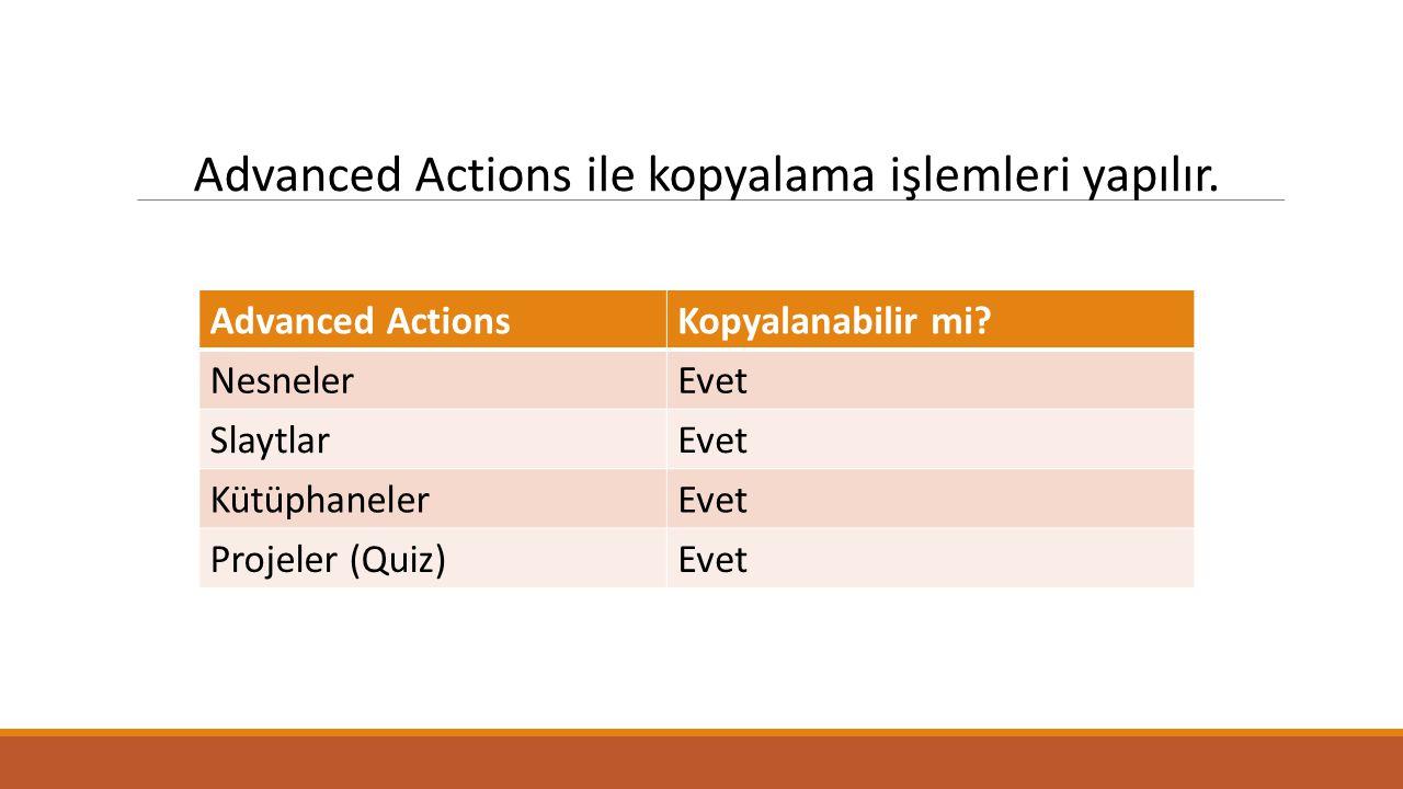 Advanced Actions ile kopyalama işlemleri yapılır. Advanced ActionsKopyalanabilir mi.