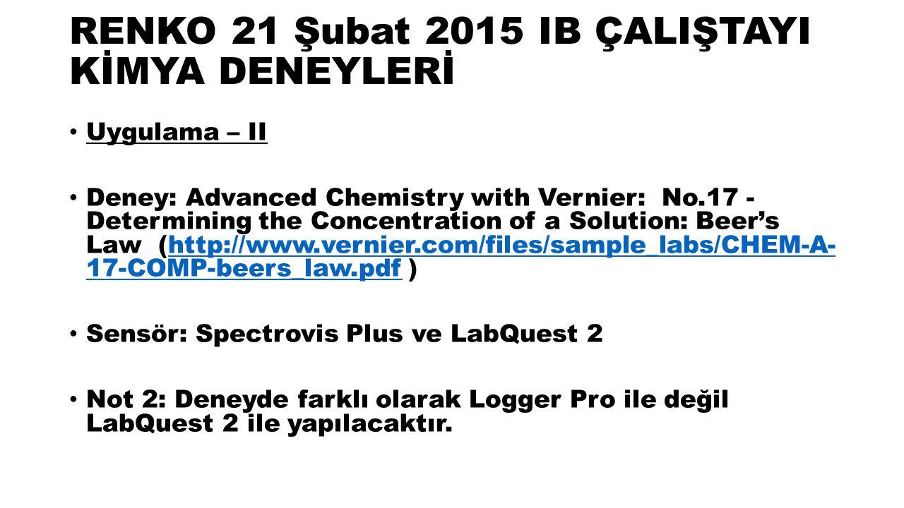 RENKO 21 Şubat 2015 IB ÇALIŞTAYI KİMYA DENEYLERİ Uygulama – II Deney: Advanced Chemistry with Vernier: No.17 - Determining the Concentration of a Solution: Beer's Law (http://www.vernier.com/files/sample_labs/CHEM-A- 17-COMP-beers_law.pdf )http://www.vernier.com/files/sample_labs/CHEM-A- 17-COMP-beers_law.pdf Sensör: Spectrovis Plus ve LabQuest 2 Not 2: Deneyde farklı olarak Logger Pro ile değil LabQuest 2 ile yapılacaktır.