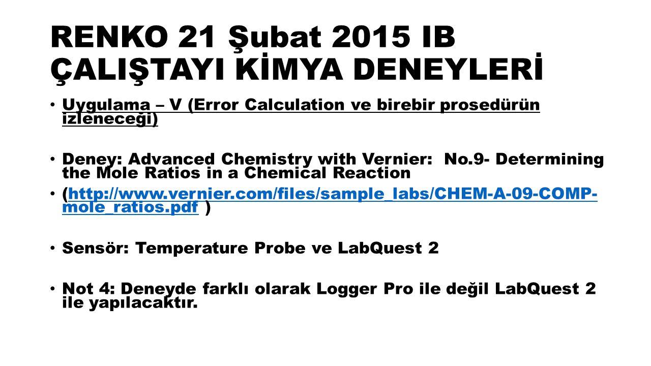 RENKO 21 Şubat 2015 IB ÇALIŞTAYI KİMYA DENEYLERİ Uygulama – V (Error Calculation ve birebir prosedürün izleneceği) Deney: Advanced Chemistry with Vernier: No.9- Determining the Mole Ratios in a Chemical Reaction (http://www.vernier.com/files/sample_labs/CHEM-A-09-COMP- mole_ratios.pdf )http://www.vernier.com/files/sample_labs/CHEM-A-09-COMP- mole_ratios.pdf Sensör: Temperature Probe ve LabQuest 2 Not 4: Deneyde farklı olarak Logger Pro ile değil LabQuest 2 ile yapılacaktır.