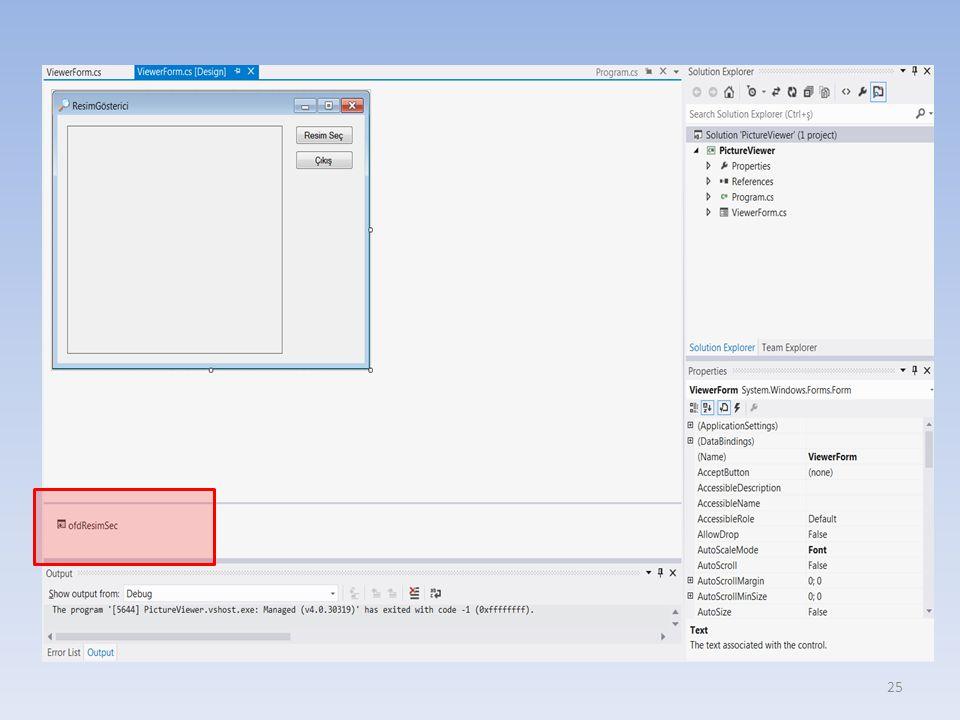 Programın çalıştırılması Basit olarak Ctrl+F5 tuşlarına basmak – Program normal olarak çalışır F5 tuşuna basarak veya toolbar kısmında bulunan debug butonuna basarak – Ancak bu, programı debug modunda çalıştırır ve bu biraz daha yavaştır.
