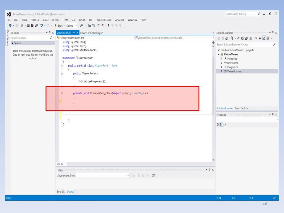 Metod'un içeriği private void btnResimSec_Click(object sender, EventArgs e){ // open file dialog kutusunu gösterir.