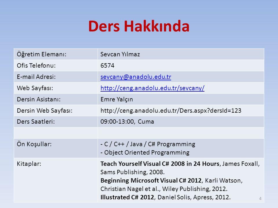 Ders Hakkında Öğretim Elemanı:Sevcan Yılmaz Ofis Telefonu:6574 E-mail Adresi:sevcany@anadolu.edu.tr Web Sayfası:http://ceng.anadolu.edu.tr/sevcany/ De