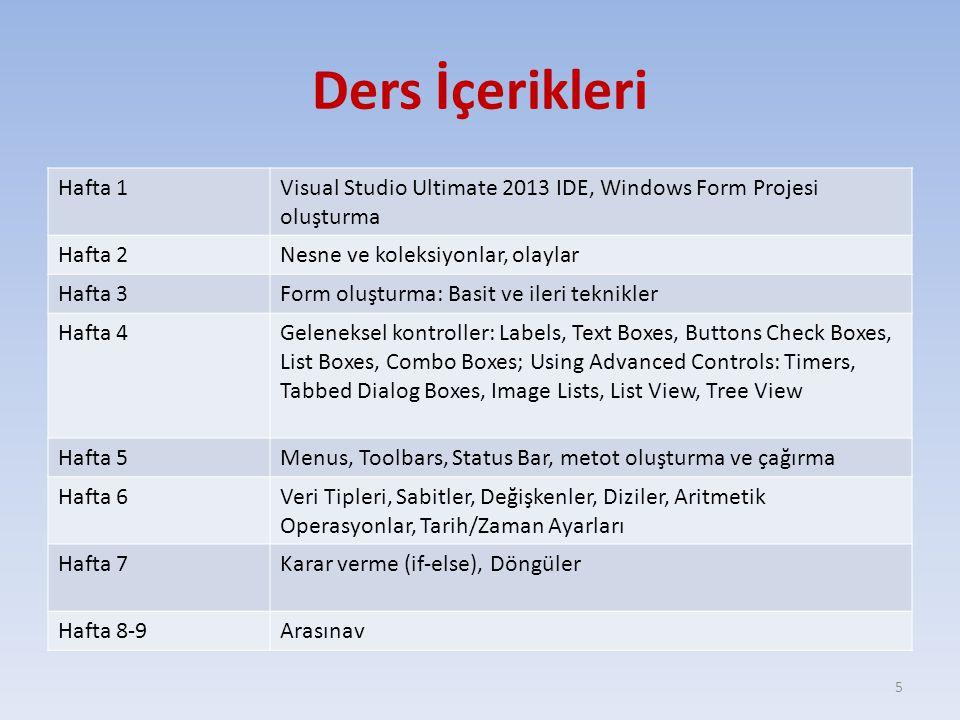 Ders İçerikleri Hafta 1Visual Studio Ultimate 2013 IDE, Windows Form Projesi oluşturma Hafta 2Nesne ve koleksiyonlar, olaylar Hafta 3Form oluşturma: B