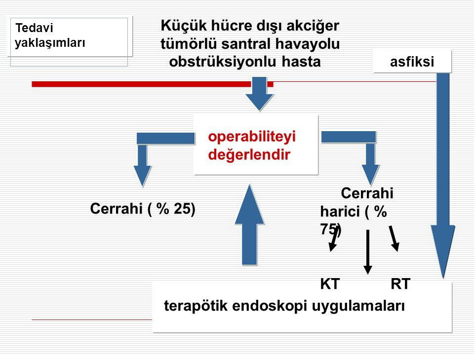 Küçük hücre dışı akciğer tümörlü santral havayolu obstrüksiyonlu hasta operabiliteyi değerlendir Cerrahi ( % 25) Cerrahi harici ( % 75) KT RT Tedavi y