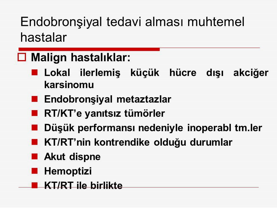 Endobronşiyal tedavi alması muhtemel hastalar  Malign hastalıklar: Lokal ilerlemiş küçük hücre dışı akciğer karsinomu Endobronşiyal metaztazlar RT/KT