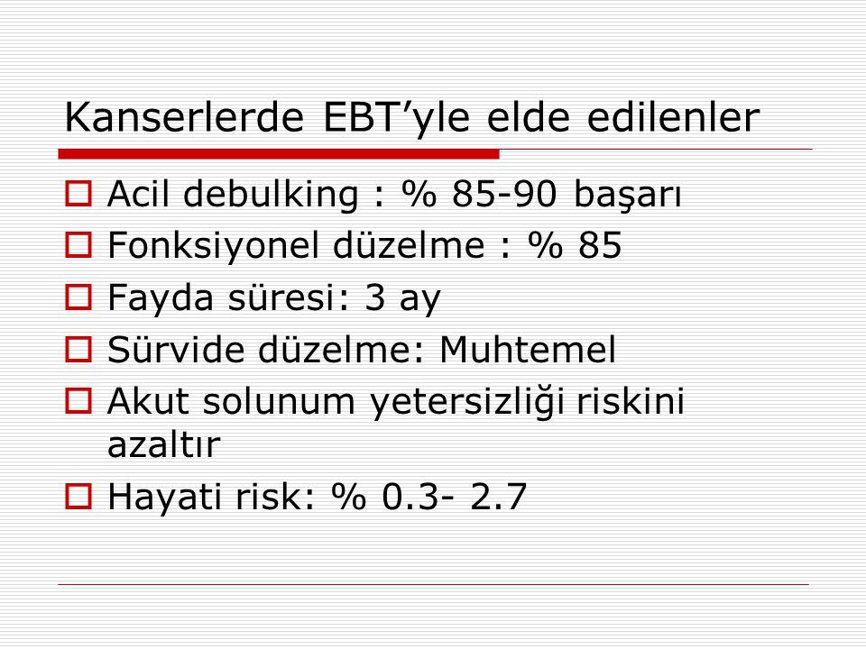 Kanserlerde EBT'yle elde edilenler  Acil debulking : % 85-90 başarı  Fonksiyonel düzelme : % 85  Fayda süresi: 3 ay  Sürvide düzelme: Muhtemel  A
