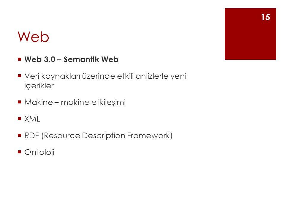 Web  Web 3.0 – Semantik Web  Veri kaynakları üzerinde etkili anlizlerle yeni içerikler  Makine – makine etkileşimi  XML  RDF (Resource Description Framework)  Ontoloji 15