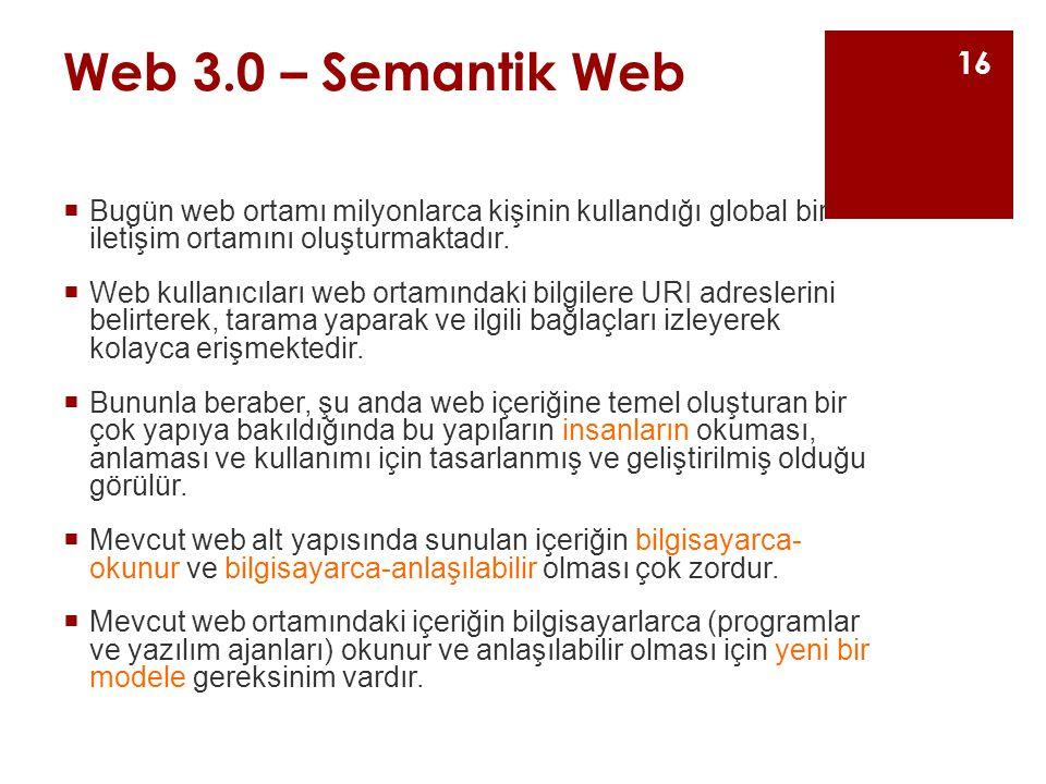Web 3.0 – Semantik Web  Bugün web ortamı milyonlarca kişinin kullandığı global bir iletişim ortamını oluşturmaktadır.