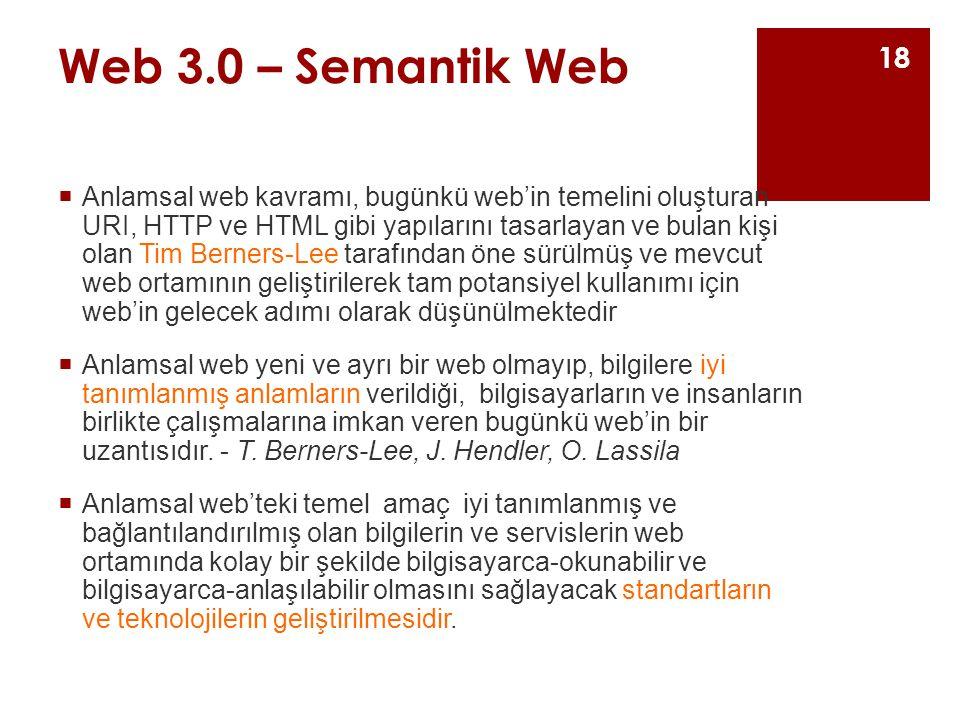 Web 3.0 – Semantik Web  Anlamsal web kavramı, bugünkü web'in temelini oluşturan URI, HTTP ve HTML gibi yapılarını tasarlayan ve bulan kişi olan Tim Berners-Lee tarafından öne sürülmüş ve mevcut web ortamının geliştirilerek tam potansiyel kullanımı için web'in gelecek adımı olarak düşünülmektedir  Anlamsal web yeni ve ayrı bir web olmayıp, bilgilere iyi tanımlanmış anlamların verildiği, bilgisayarların ve insanların birlikte çalışmalarına imkan veren bugünkü web'in bir uzantısıdır.