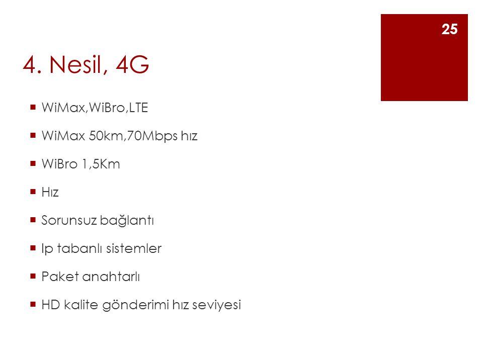 4. Nesil, 4G  WiMax,WiBro,LTE  WiMax 50km,70Mbps hız  WiBro 1,5Km  Hız  Sorunsuz bağlantı  Ip tabanlı sistemler  Paket anahtarlı  HD kalite gö