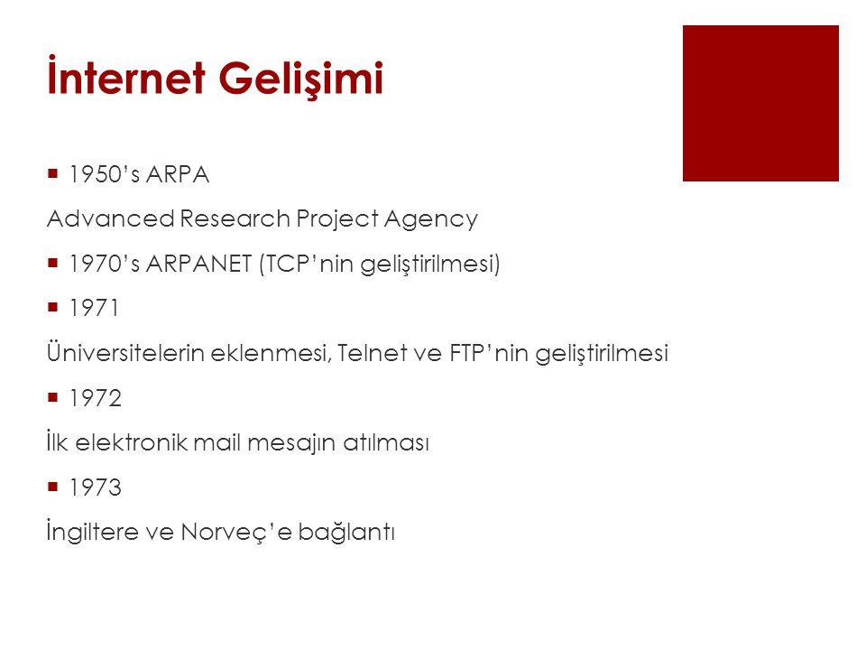 İnternet Gelişimi  1950's ARPA Advanced Research Project Agency  1970's ARPANET (TCP'nin geliştirilmesi)  1971 Üniversitelerin eklenmesi, Telnet ve FTP'nin geliştirilmesi  1972 İlk elektronik mail mesajın atılması  1973 İngiltere ve Norveç'e bağlantı