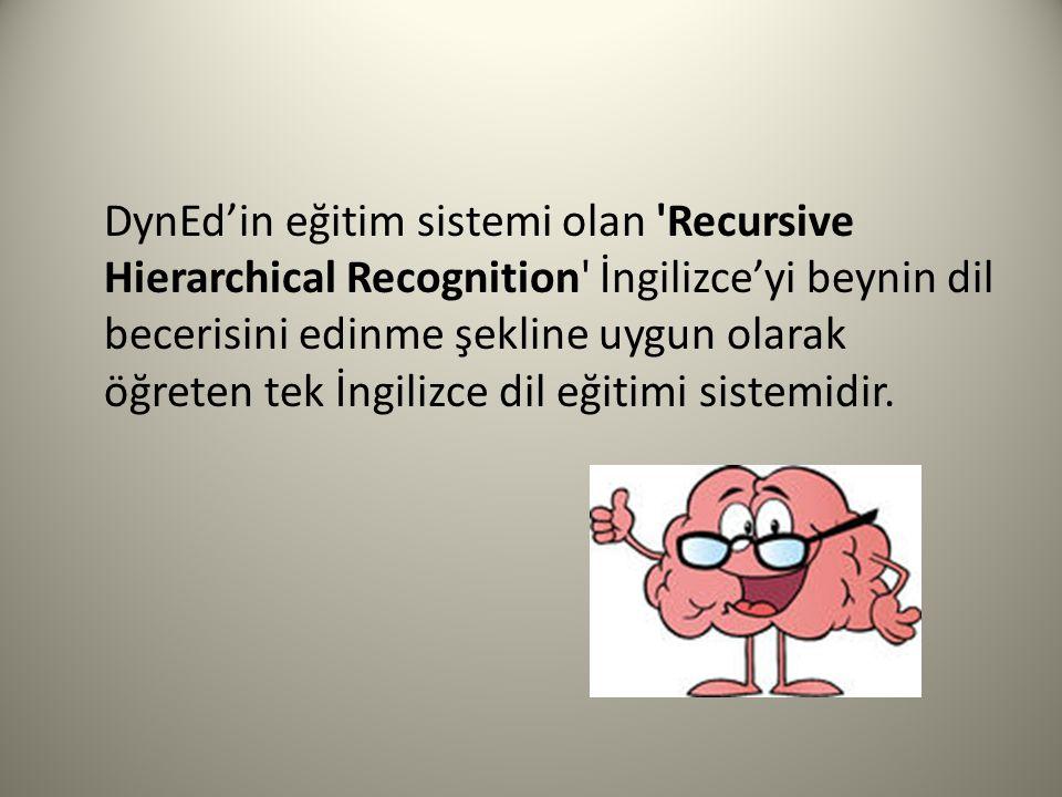 DynEd'in eğitim sistemi olan 'Recursive Hierarchical Recognition' İngilizce'yi beynin dil becerisini edinme şekline uygun olarak öğreten tek İngilizce