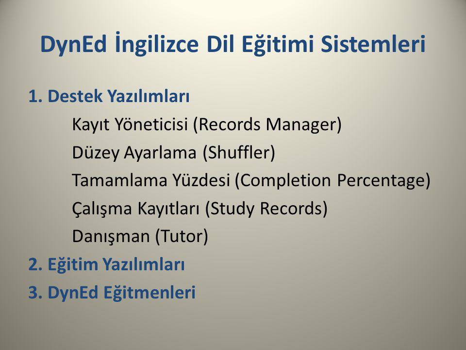 DynEd İngilizce Dil Eğitimi Sistemleri 1. Destek Yazılımları Kayıt Yöneticisi (Records Manager) Düzey Ayarlama (Shuffler) Tamamlama Yüzdesi (Completio