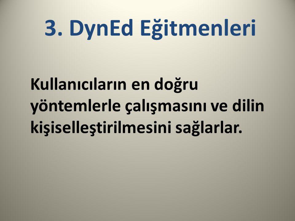 3. DynEd Eğitmenleri Kullanıcıların en doğru yöntemlerle çalışmasını ve dilin kişiselleştirilmesini sağlarlar.
