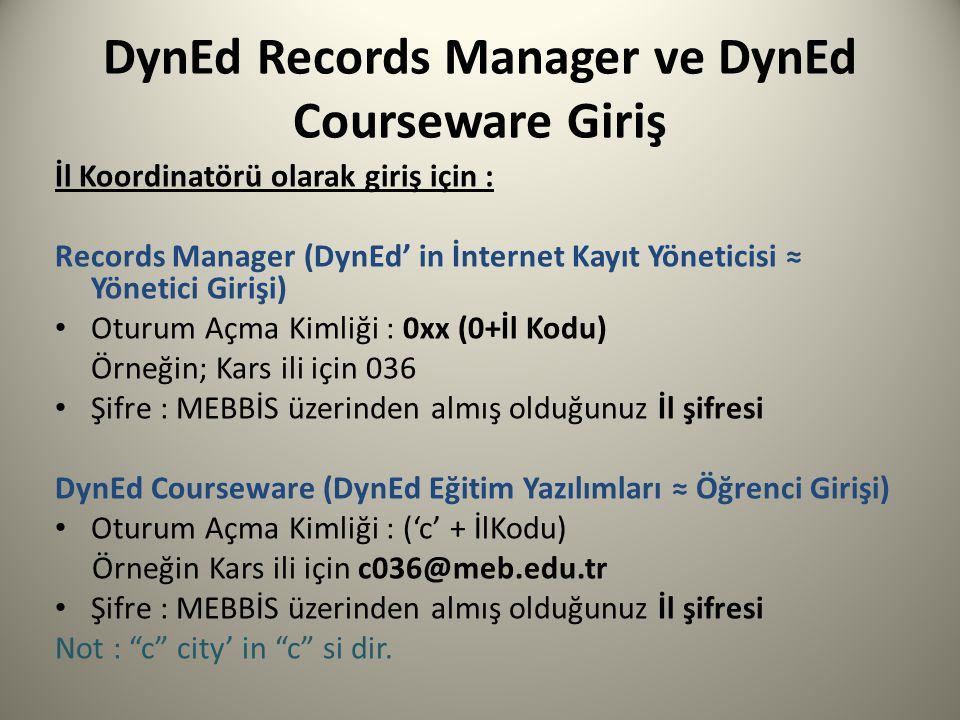 DynEd Records Manager ve DynEd Courseware Giriş İl Koordinatörü olarak giriş için : Records Manager (DynEd' in İnternet Kayıt Yöneticisi ≈ Yönetici Gi